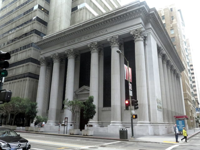 "The Bank of California Building, built in 1908 in a Greco-Roman style. (I think it's fair to call it Neoclassical.) The building is affectionately known as ""the Grand Old Lady of California Street"". San Francisco, United States, North America."