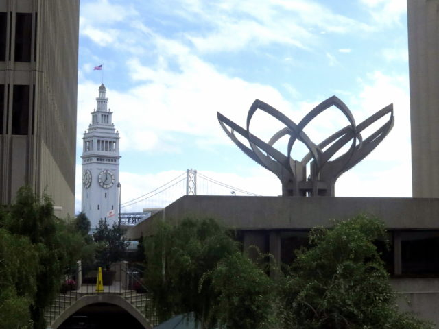 """The Tulip"". What architectural detail could scream late '70s/early '80s than a giant concrete tulip? In the background, the fabulous Ferry Building and the Bay Bridge. San Francisco, United States, North America."