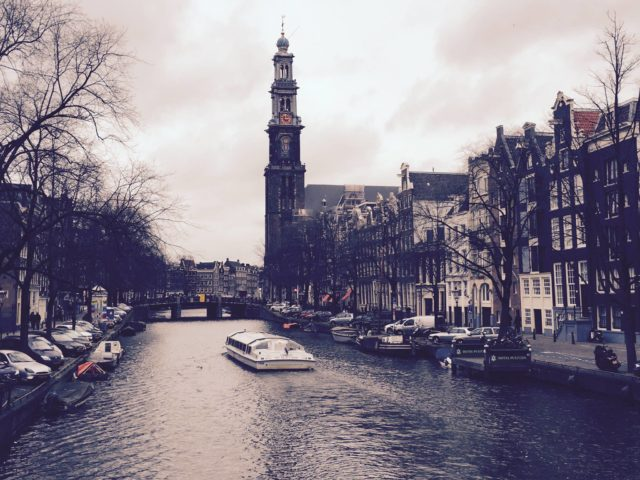 The iconic Westerkerk (West Church) on the Prinsengracht (Prince's Canal) in Amsterdam, a city I love. Amsterdam, Netherlands, Europe.