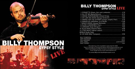 Billy Thompson Gypsy Style - LIVE CD cover