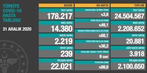 2020'nin Son Korona Tablosu: 239 Can Kaybı, 14 Bin 380 Vaka