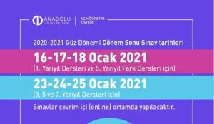 AÖF güz dönemi dönem sonu (final) sınavları ne zaman? Anadolu Üniversitesi online takvim!