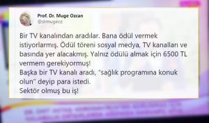 Bir TV Kanalı, Prof. Dr. Müge Özcan'a Ödül Vermek İçin Para İstedi: 'Sektör Olmuş Bu İş'