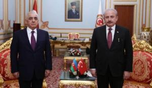 TBMM Başkanı Şentop, Azerbaycan Başbakanı'nı Meclis'te ağrıladı
