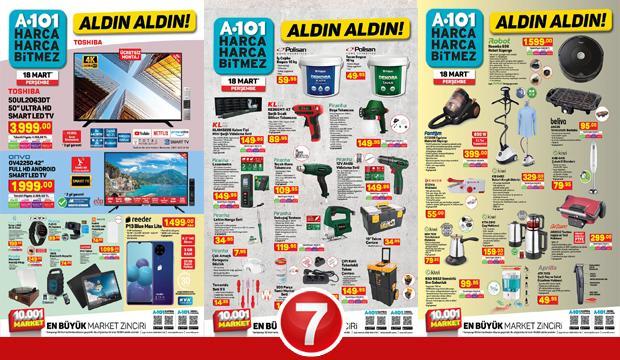 18 Mart A101 aktüel kataloğu! Hırdavat, züccaciye, mobilya, derin dondurucu, elektronik ürünler