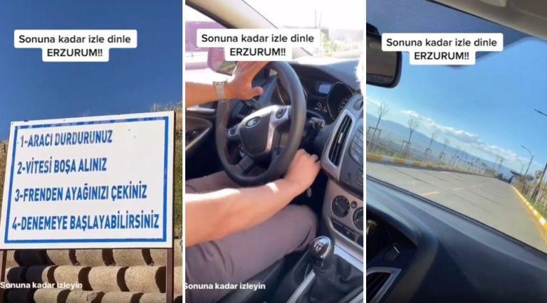 Erzurum'da Bulunan 'Gizemli Yol': Arabalar Kontak Kapalıyken Kendi Kendine Rampa Yukarı mı Çıkıyor?