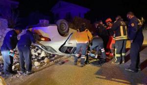 Fethiye'de takla atan otomobilin sürücüsü yaralandı