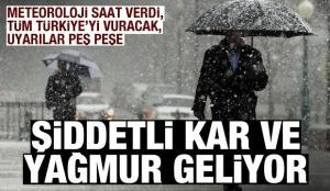 Meteoroloji saatler kaldı deyip uyardı! Tüm Türkiye'yi vuracak, şiddetli kar ve yağmur geliyor