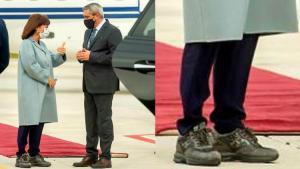 Rodos'u ziyaret eden Yunanistan Cumhurbaşkanına ayakkabı yansısı