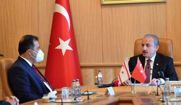 TBMM Başkanı Şentop ile KKTC Başbakanı Saner, Meclis'te bir araya geldi