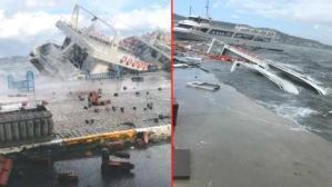 Ayvalık savaş alanına döndü! Fırtına nedeniyle 30 teknenin battığı bölgeden gelen görüntüler korkunç