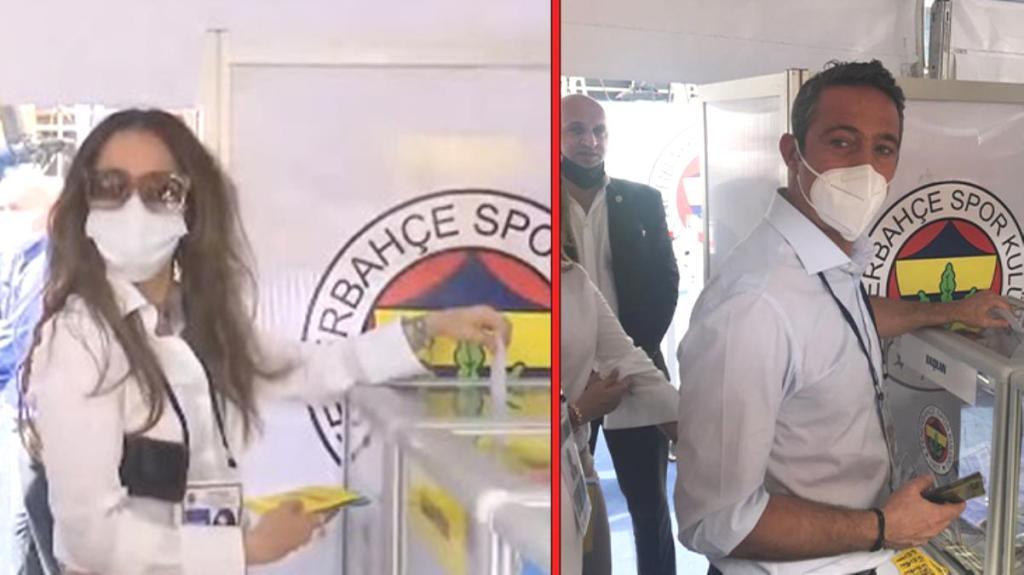 F.Bahçe Başkanı Ali Koç, eşi Nevbahar Demirağ'la birlikte oyunu kullandı