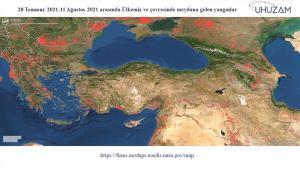 85 Bin Futbol Sahası Büyüklüğünde! Akdeniz ve Ege'de Yanan Alan Uzaydan Görüntülendi