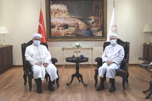 Diyanet İşleri Başkanı Erbaş, KKTC Din İşleri Başkanı Ünsal'ı kabul etti