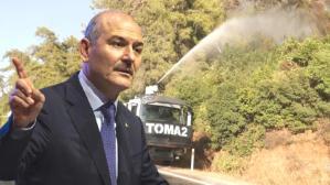 """Son Dakika: Bakan Soylu'dan """"TOMA'lar yangın bölgelerine gönderilmedi"""" iddiasına yanıt: TOMA'lar olayın başından beri görev yapıyor"""