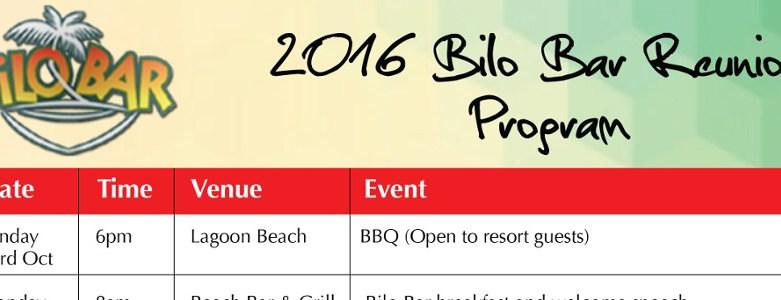 2016 Bilo Bar Reunion Programme