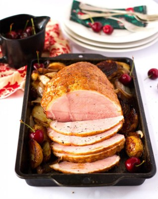 Roast Gammon with Cherry and Red Wine Sauce