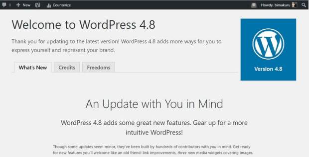 WordPress 4.8 Update Terbaru