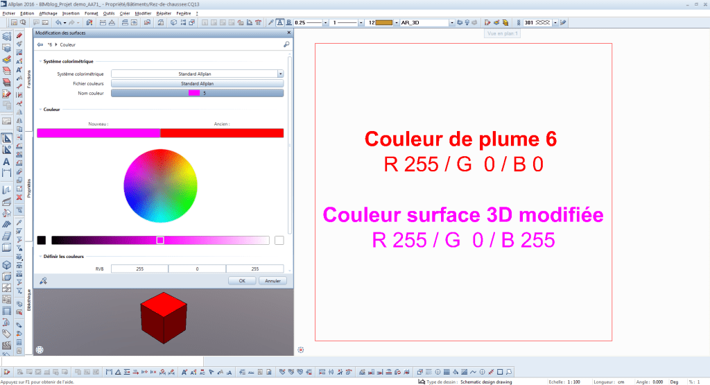 BIMblog ALLPLAN couleur IFC ALLPLAN Couleur Plume 6 modification