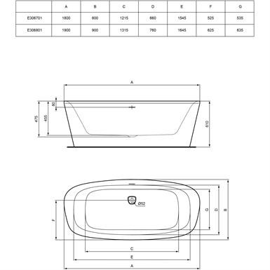 dea baignoire ilot 180 x 80 cm ideal