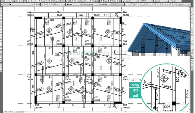 Download sample cad drawing of Inclined Pitched Roof Concrete Slab Reinforcement