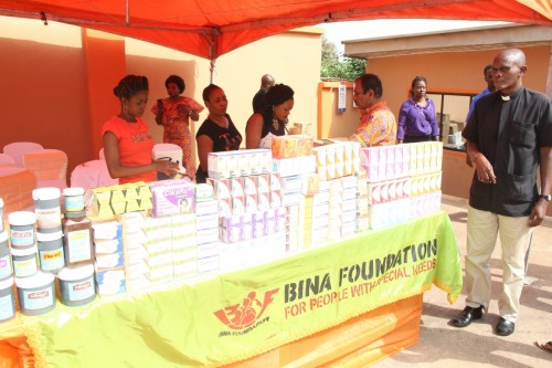 Array of drugs during a medical outreach at Bina Foundation arean