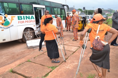 Bina Foundation arrives at the Church of Transfuguration premises for a church service
