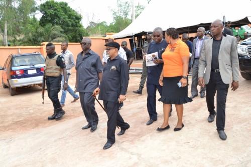 Chairman, Bina Foundation, Sir Chris Atuegwu walks down the Minister, Sen. Ngige round the facilities