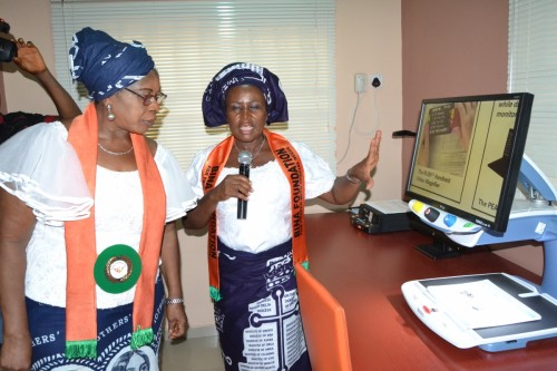 Dr. Mrs. Joyce Chukwuma, at the Audio Room for conversion of books to audio