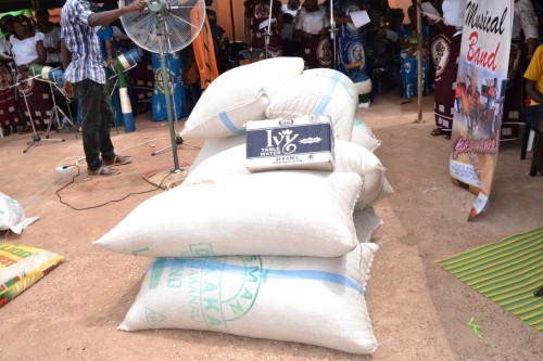 Huge Bags of beans donated by the Anglican Diocesan Women during their visit