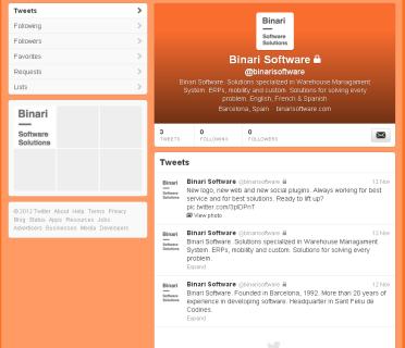 Nueva cuenta de Binari Software en Twitter