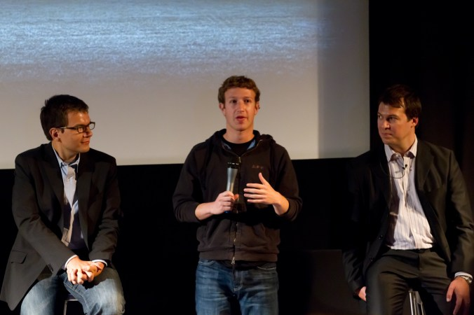 Mark Zuckerberg, Ethan Beard, and Mike Vernal take to the stage for Q&A