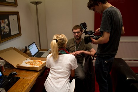 Me being interviewed at the Hackathon