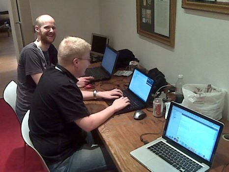 Simon and Myles beavering away at MiniPlay - our Facebook Application