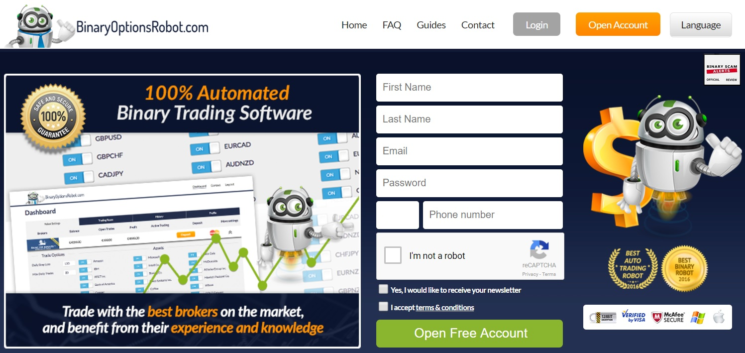 Binary option robot features