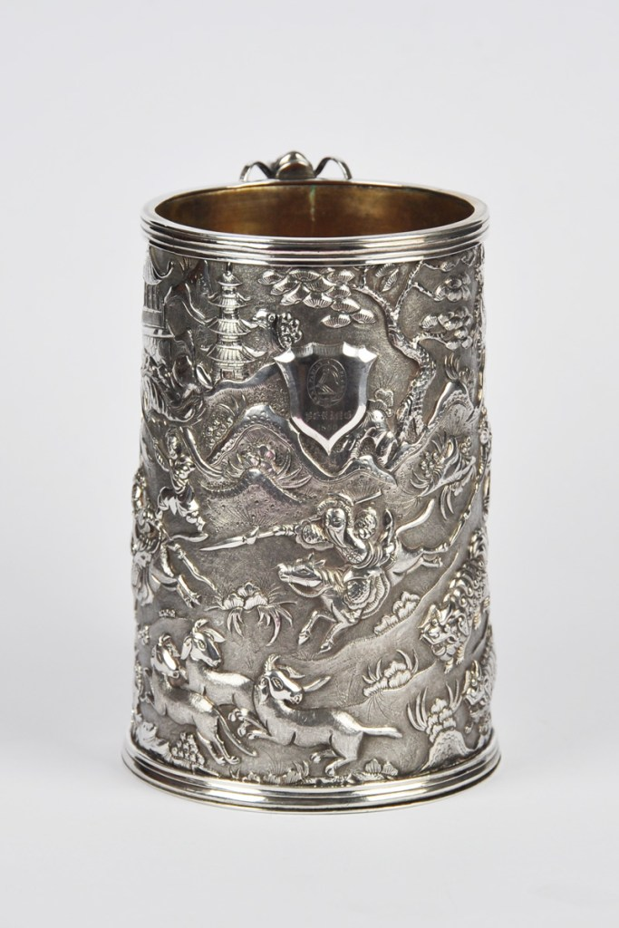 CHINESE EXPORT SILVER TANKARD 1860 COAT OF ARMS OF SCOTLAND