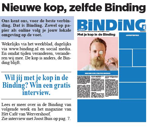 nieuwe kop, zelfde Binding. Restyling weekblad Binding Wervershoof