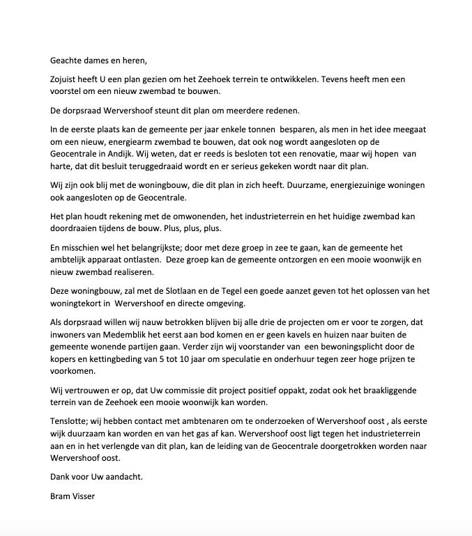 Brief Dorpsraad Wervershoof aan gemeente over Zwembad de Zeehoek