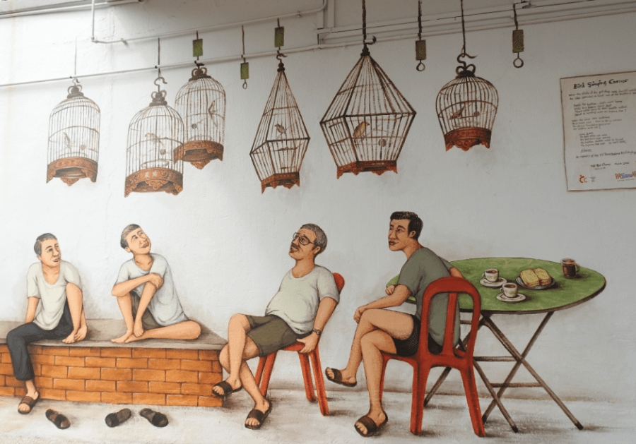 Street art at Tiong Bahru showing food