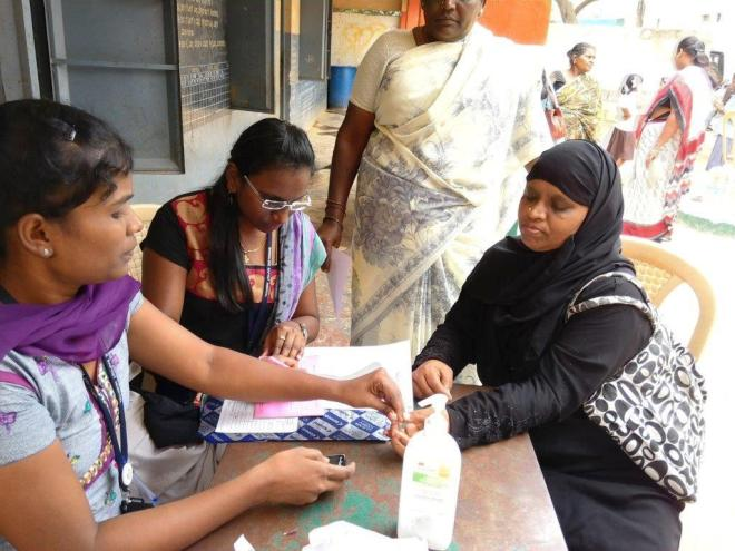 Customer screened for Diabetes during Health Camp at Kaval Byrasandra Branch