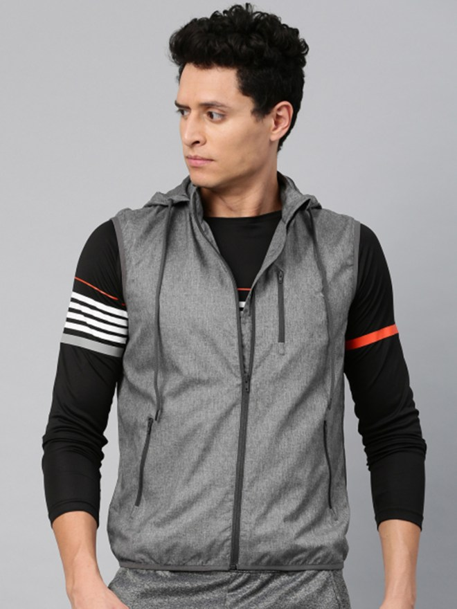 HRX by Hrithik Roshan Men Grey Solid Hooded Sporty RAPID-DRY Jacket - Rs.2299