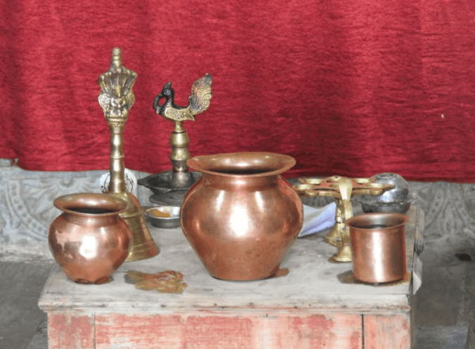 Pooja items in a temple
