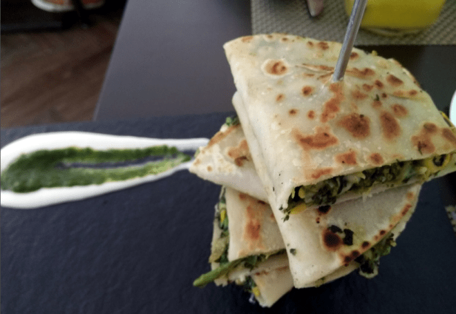 Palak corn quesadillas