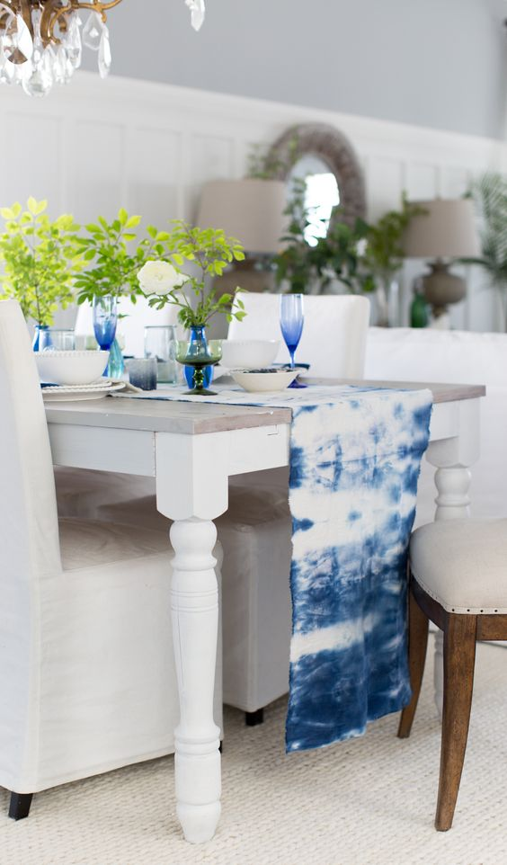 Make-a-shibori-table-runner-and-add-matching-glasses-to-highlight-it courtesy The Decor Kart
