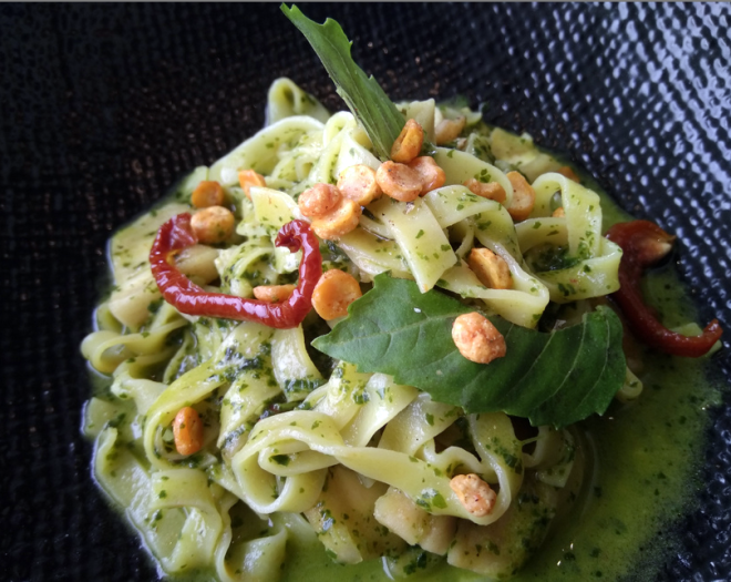Special pesto pasta at Colony Grill House