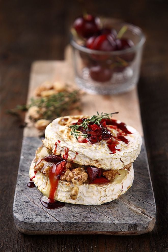 Baked Bombrie With Cherries, Walnut & Thyme