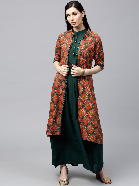 AKS-Women-Orange--Teal-Green-Printed-Longline-Open-Front-Jacket