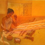 Threads of life wash on cloth 16 x 17 inches by stuti laha