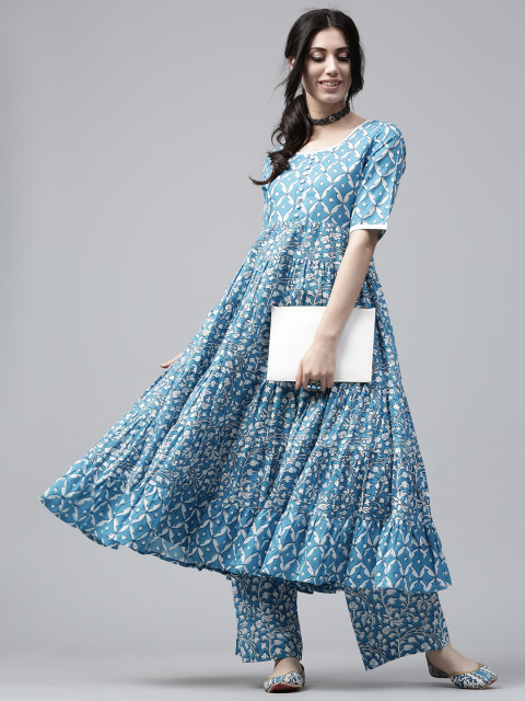 AKS-Women-Blue--White-Printed-Anarkali-Kurta