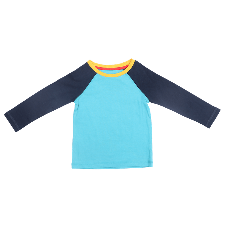 Aqua Colorblock Long Sleeve Tshirt